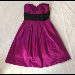 Pink Strapless Dress with Black Rose NWOT